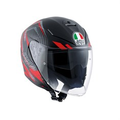 Agv K5 Jet Multi Urban Hunter Matt Black Red Açik Kask