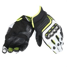 Dainese Carbon D1 Short Deri Eldiven Black White Fluo Yellow