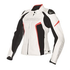Dainese G.Racing D1 Lady Pelle Deri Mont White Black Fluo Red
