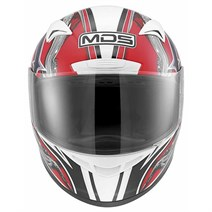 Mds M13 Brush White Red Kapalı Kask