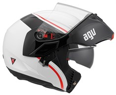 Agv Compact Multi Course White Red Çene Açilir Kask